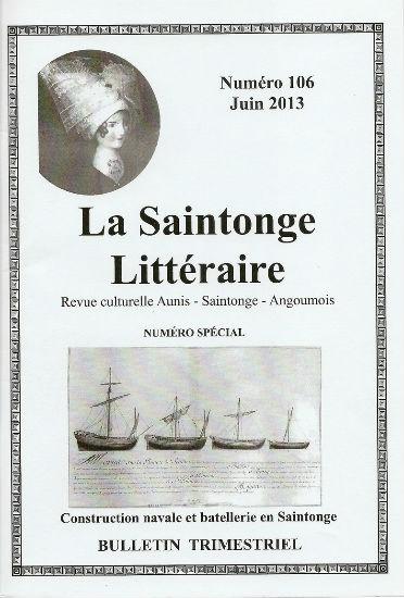 couverture du N spécial 106 de juin 2013 de la Saintonge Littéraire